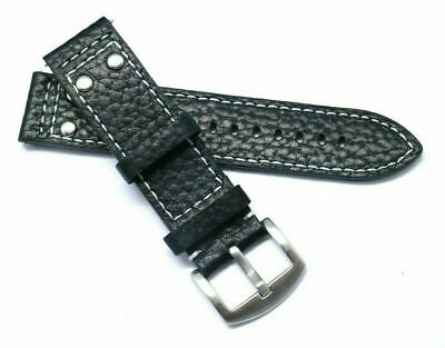 22mm Black Rivet Style Buffalo-Grain Leather Replacement Watch Strap - TW Steel