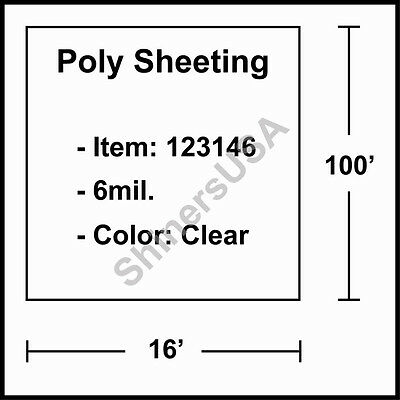 6 mil Poly Sheeting 16'x100' Clear  (123146)