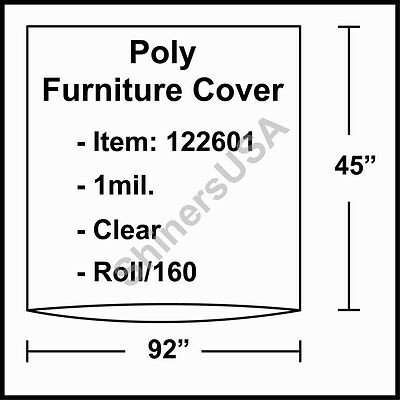 """1 mil Poly Furniture Covers 92""""x45"""" Clear - Roll/160 (122601)"""