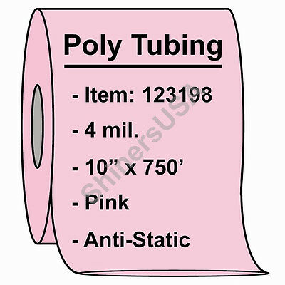 """4 mil Antistatic Poly Tubing 10""""x750' Pink Heat Sealable (123198)"""