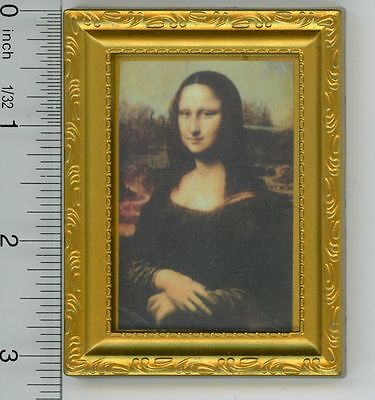 Dollhouse Miniature Gold Framed Print of Mona Lisa