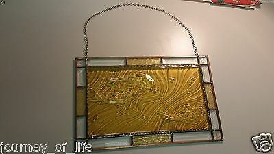 Hanging Copper Frame River Koi Goldfish Stained Glass Window Panel Sun Catcher