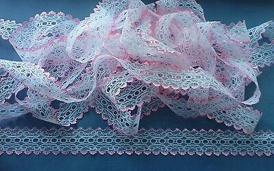 Coloured Edge Eyelet Knitting Lace  20 m x 35 mm (Various Colours)