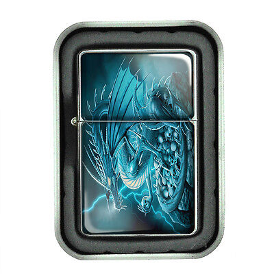 Windproof Refillable Oil Lighter with Gift Box Dragon Design-004 Custom Medieval