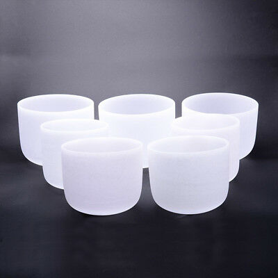 Chakra Tuned Set of 7 Frosted  Crystal Singing Bowls -all 8 inch
