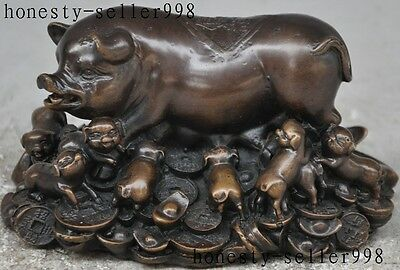 """5.6"""" chinese bronze wealth money coin Lucky  zodiac Porcine Pigs animal statue"""