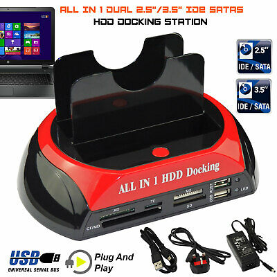 "Dual 2.5"" 3.5"" IDE SATA HARD DRIVE DISK HDD DOCKING STATION USB DOCK HUB"