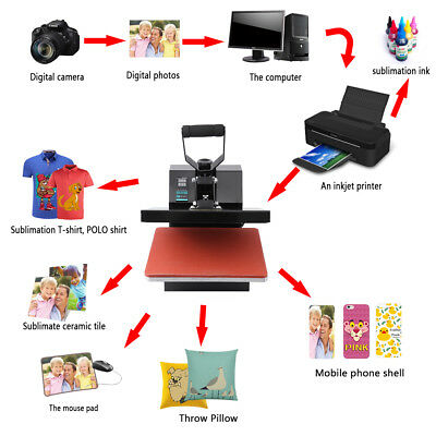 "Heat Press T-Shirt Heat Transfer Sublimation Machine 15"" x 15"" Black Clamshel"