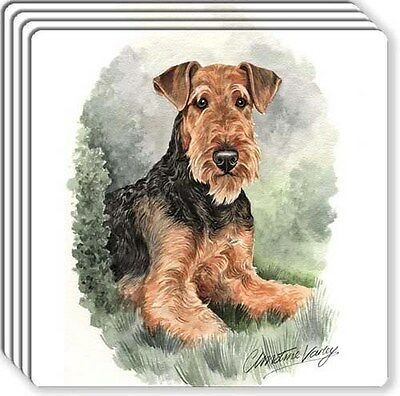 Airedale Terrier Rubber Coaster Set