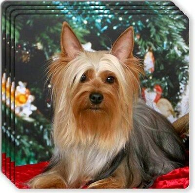 Silky Terrier Rubber Coaster Set
