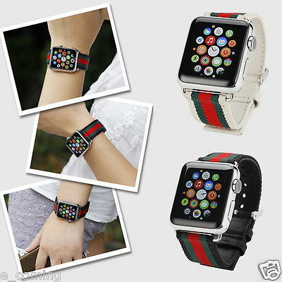 Canvas & leather + Buckle Connector Watch Band Strap For Apple Watch iwatch 42MM