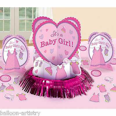 23 Piece Pink Girl's New Baby Shower With Love Party Table Decorating Kit
