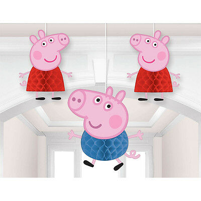 3 Peppa Pig Cartoon Birthday Party Hanging Honeycomb Decorations