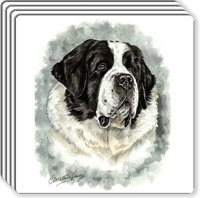 Saint Bernard Rubber Coaster Set