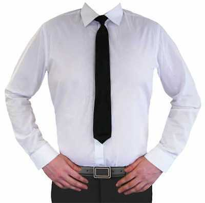 Plain Black Clip-On Neck Ties for Wedding Uniform Security Doorman Costume Party