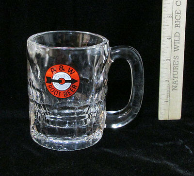 Vintage A & W Root Beer Heavy Glass Mug Cup w/ Handle Arrow Logo Ice Cold