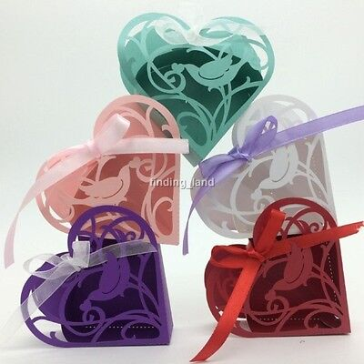 25/50//100 pcs Elegant Wedding Favours Sweets Cake Candy Gift Boxes - Love #5
