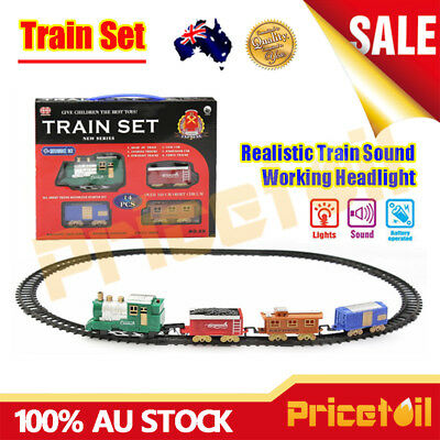 New Train Track Set Battery Operated Sound & Light Fun Educational Toy Train Set