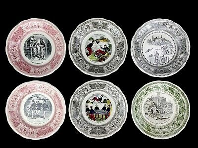 """Vintage GIEN France French Transferware Comic Motto Plates Multi-Color 7-3/4"""""""