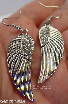SILVER ANGEL WING EARRINGS ON FRENCH HOOKS WITH RHINESTONES Wicca Witch Pagan