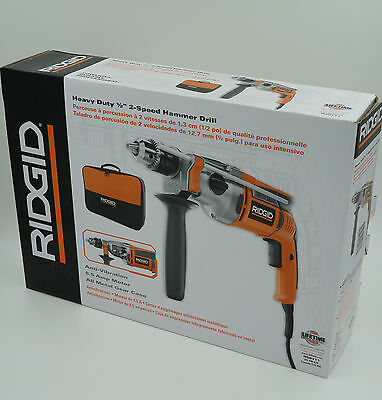 RIDGID 1/2 inch 2-Speed Hammer Drill 8.5 AMP Heavy Duty with Contract Bag R50111
