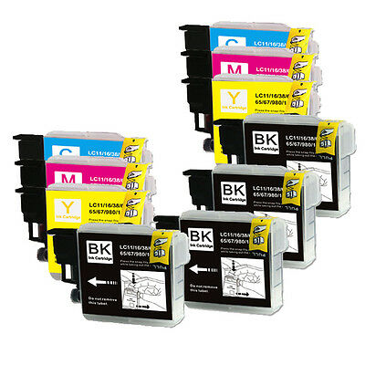 10 PK (BK C M Y) Ink Set Replacement for LC61 Brother MFC 290C 295CN 490CW J410w