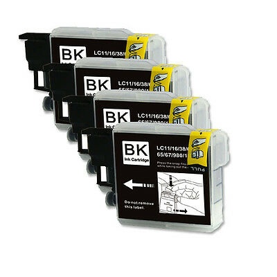 4 PK BLACK Ink Jet Replacement for LC61 Brother MFC 290C 295CN 490CW J410w