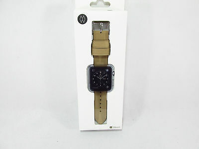 Monowear Beige Leather Band with Matte Silver Adapter For 38Mm Apple Watch