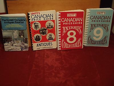 vintage antiques price guides Unitt's #2,8,9 & Kovel's 11 lot of 4