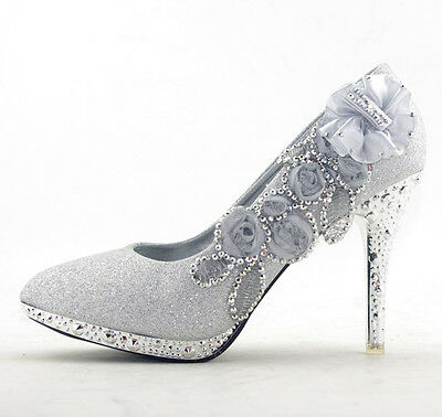 Glitter Silver Floral Women Shoes Wedding Bridal Sparkly High Heels New Pumps