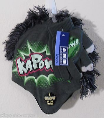 NWT ABG Accessories Boys Kapow! Mohawk Hat & Gloves Set One Size Green MSRP$20