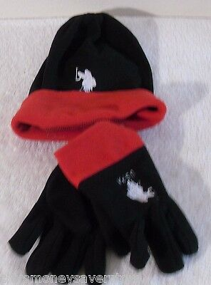NEW US Polo Assn Boys Beanie Hat & Gloves 3-Piece Set One-Size 8-20 Black/Red