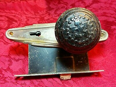 Antique Reclaimed Round Ornate Embellish Brass Door Knob Pair Vintage Victorian