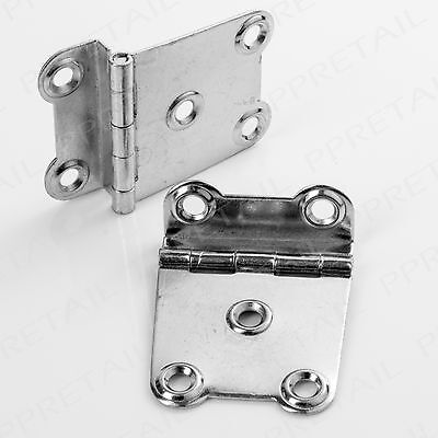"""2 x SILVER 1.5"""" CRANKED SURFACE HINGE Offset Wood Furniture Chest Trunk Crank"""