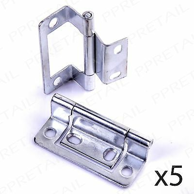 5 PAIRS OF SILVER DOUBLE CRANKED FLUSH HINGES Cupboard/Cabinet Door Caravan/Boat