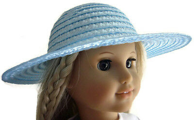 "Blue Straw EASTER Hat for 18"" American Girl Doll Clothes Accessories"