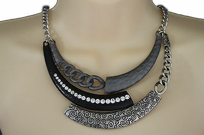 Women Short Fashion Necklace Metal Chain 3D Charm Pendant Antique Silver Black
