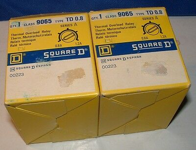 Qty. 2 - Square D Thermal Overload Relay Class 9065 Type TD0.8 Series A NOS