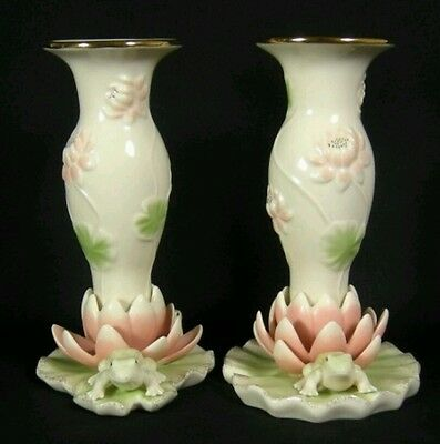 "Floral Frog Collection by Lenox Set of 2 Candlesticks 6 3/8"" New in Original Box"