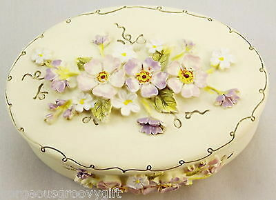 Trinket Box With Little Pink and White Flowers