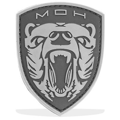 3D PVC MOH Grizzly Bear Military Army Tactical Airsoft Biker Morale Patch Black