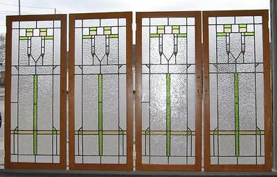 Antique Arts & Crafts Stained Glass Oak Cabinet Doors With Ripple Glass 4 Avail