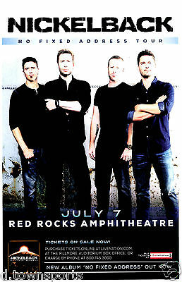 NICKELBACK No Fixed Address Tour 2015 Red Rocks 11x17 Show Flyer / Gig Poster