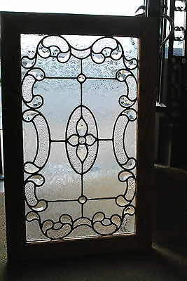 Antique Beveled and Jeweled Glass Window