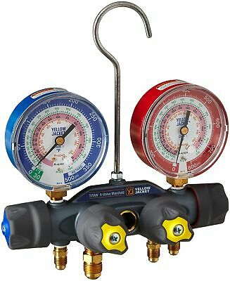 Yellow Jacket 49963 TITAN Manifold only (°F) Red/Blue Gauges, psi R-22/404A/410A