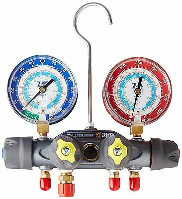 Yellow Jacket 49983 TITAN Manifold only (°F) Red/Blue Gauge, psi, R-22/134A/404A