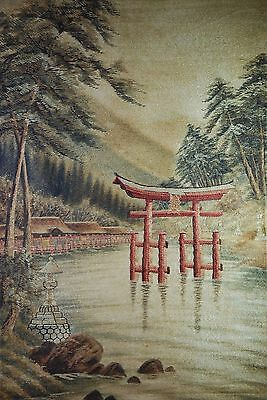 """Beautiful Vintage Asian Oriental Hanging Landscape Tapestry Wood Bars 29"""" x 46"""""""