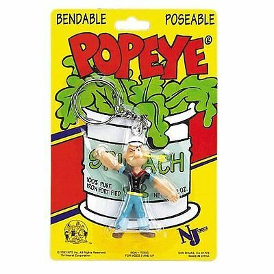 New Popeye the Sailor Man Bendable Key Chain TV Classic Cartoon Toy by NJ Croce