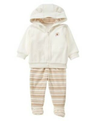 NWT Gymboree NEWBORN ESSENTIALS 2 pc Hooded Jacket Pants Outfit Set