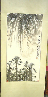 Japanese Hand Painted Hanging Scroll - WATERFALL & TALL TREES - Signed